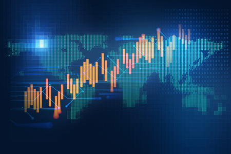 aarde, futuristisch, technologie, en, financieel, beursmarkt, grafiek, op, technologie, abstracte achtergrond