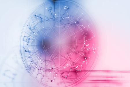 Hintergrund Design der heiligen Sternzeichen Symbole, Zeichen, Geometrie und Designs repräsentieren Konzept der Astrologie, Alchemie, Magie, Hexerei und Wahrsagerei Standard-Bild