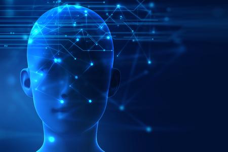 3D-weergave van de menselijke op geometrische element technologie achtergrond vertegenwoordigen kunstmatige intelligentie en cyber ruimteconcept Stockfoto