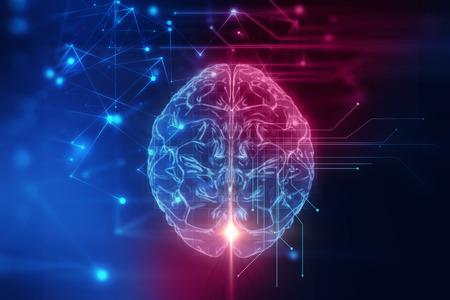 Rendering 3D di cervello umano su sfondo tecnologico rappresentano intelligenza artificiale e cyber spazio concetto
