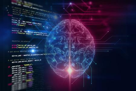 3D-weergave van de menselijke hersenen op technologie achtergrond vertegenwoordigen kunstmatige intelligentie en cyber ruimteconcept Stockfoto - 65641851