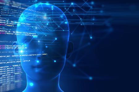 3 d レンダリング技術の背景に人間の脳の人工知能とサイバー空間の概念を表す