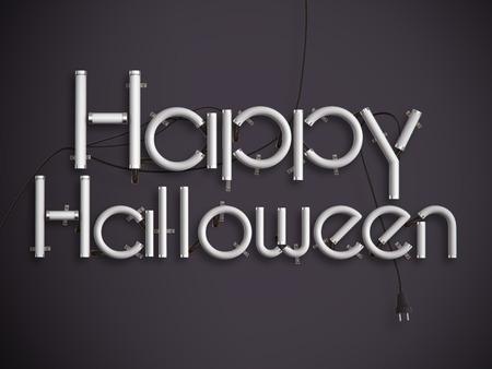text 3d: happy halloween glowing neon text 3d illustration Stock Photo