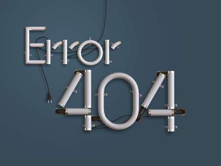 error message: 404 Error Page  neon text 3d illustration with copy space for use as disconnect landing page Stock Photo