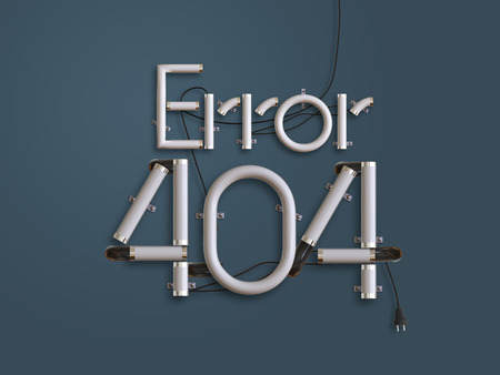 404 Error Page  neon text 3d illustration with copy space for use as disconnect landing page Stock Photo