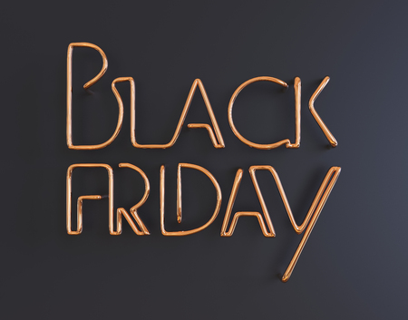 black friday metal neon text 3d illustration on black background with copy space