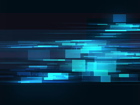 distorted image: Glitched shapes. Random digital signal error. Abstract contemporary background made of blue  pixel mosaic Stock Photo