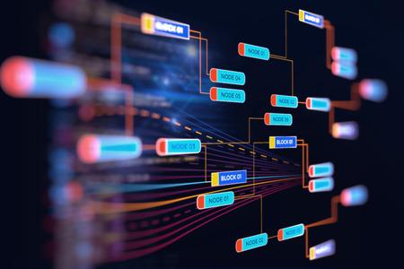 infografía futurista abstracto con la complejidad visual de datos, representan el concepto de datos grande, la programación de base de nodo