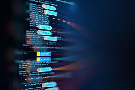 비주얼 데이터의 복잡성 추상 미래의 인포 그래픽은 빅 데이터 개념을 나타내는 노드 기반 프로그래밍