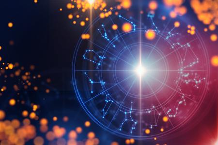 神聖な星座のシンボル、記号、幾何学デザインの背景デザインは、占星術、錬金術、魔術、魔法、占いの概念を表す