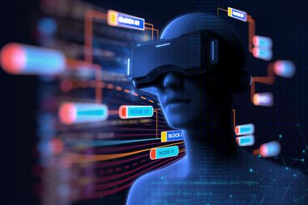 rendu 3d d'humain virtuel en VR casque sur la technologie futuriste et langages de programmation de fond représentent la technologie de la réalité virtuelle. Banque d'images