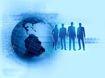 group of silouette business people stand together as teamwork on technology  background represent human resource management.