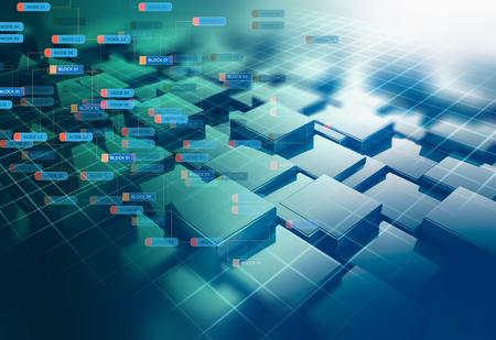 Block-Chain-Netzwerk und Programmierkonzept auf Technologie-Hintergrund Standard-Bild
