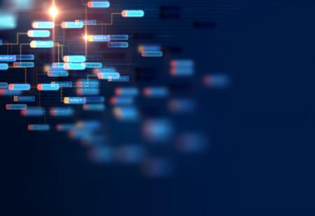 技術背景におけるブロックチェーンネットワークとプログラミングコンセプト 写真素材