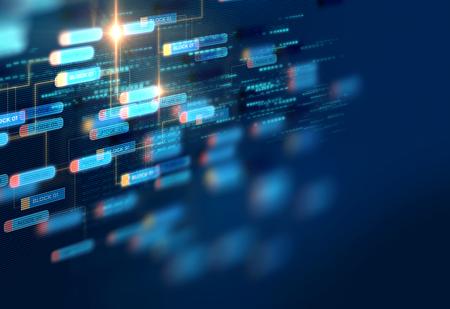 Block chain-netwerk en programmeerconcept op technische achtergrond Stockfoto