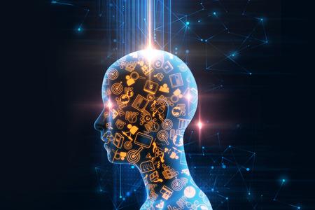 virtuele menselijke 3dillustration op zakelijke en leren technische achtergrond vertegenwoordigen leerproces. Stockfoto