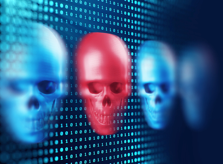 spy ware: 3d rendering of skull on technology background represent internet security and cyber criminal Stock Photo