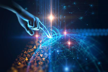 virtuele menselijke hand 3dillustration op zakelijke en leren technische achtergrond vertegenwoordigen leerproces.