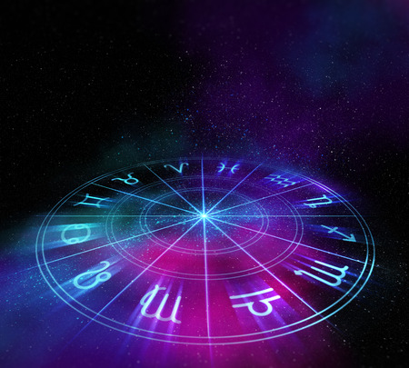 fortune concept: Backdrop design of sacred zodiac symbols, signs, geometry and designs  represent concept of  astrology, alchemy, magic, witchcraft and fortune telling