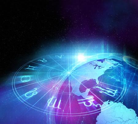 Achtergrond ontwerp van de heilige dierenriem symbolen, tekens, geometrie en ontwerpen vertegenwoordigen concept van de astrologie, alchemie, magie, hekserij en waarzeggerij