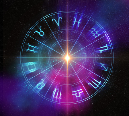 Telón de fondo de diseño sagrado del zodiaco símbolos, signos, geometría y diseños representan el concepto de la astrología, la alquimia, la magia, la brujería y la adivinación del futuro