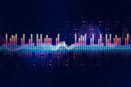 colorful Audio waveform abstract technology background ,represent digital equalizer technology Stock Photo