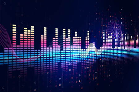 vibration: colorful Audio waveform abstract technology background ,represent digital equalizer technology Stock Photo