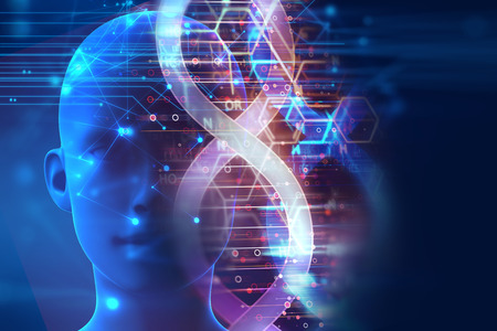 dna sequencing: dna molecules on abstract technology background , concept of biochemistriy and genetic theory. Stock Photo