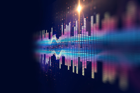 waveform: colorful Audio waveform abstract technology background ,represent digital equalizer technology Stock Photo