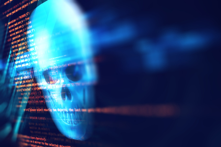 3d rendering of skull on technology background represent internet security and cyber criminal Stock Photo