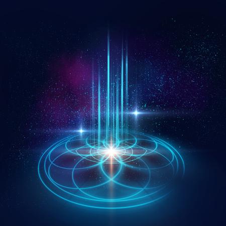 占星術とスピリチュアリティのテーマ。物質、空間と時間。宇宙科学。黄金比。