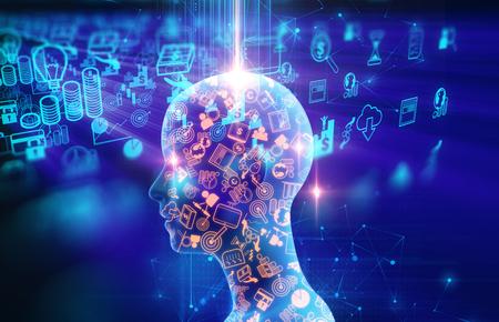 3dillustration humano virtual en el fondo la tecnología de aprendizaje de negocios y representan el proceso de aprendizaje. Foto de archivo