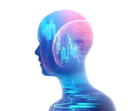 ビジネスと技術の背景を学習仮想人間 3dillustration のダブル露出画像は、学習プロセスを表します。 写真素材 - 70907815