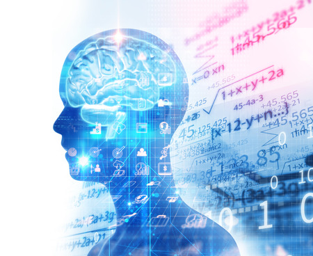double exposure image of virtual human 3dillustration on business and learning technology  background represent learning process.