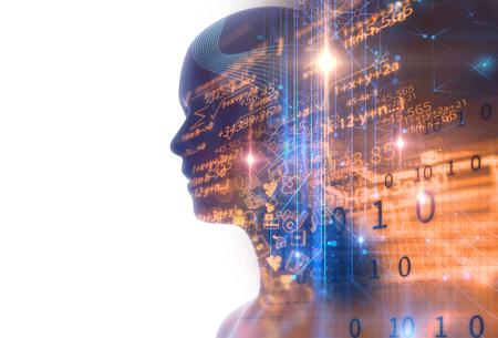 dubbele blootstelling afbeelding van virtuele menselijke 3dillustration op zakelijke en leertechnologie achtergrond vertegenwoordigen leerproces.