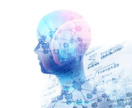 Doppelbelichtungsbild des virtuellen Menschen 3dillustration auf Geschäfts- und Lerntechnologie Hintergrund repräsentieren Lernprozess.