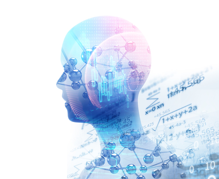 double exposure image of virtual human 3dillustration on business and learning technology  background represent learning process. Foto de archivo