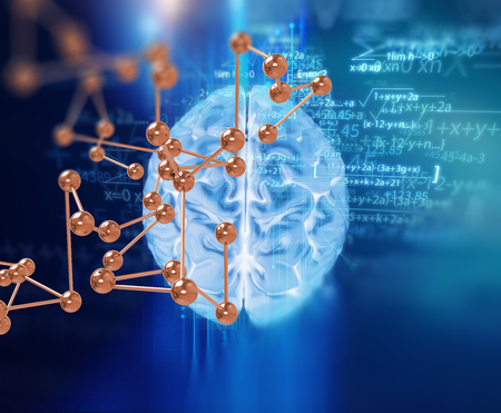 double exposure: double exposure image of virtual human brain 3dillustration on business and learning technology  background  represent learning process. Stock Photo