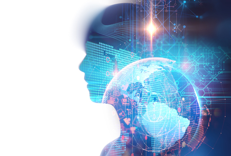 double exposure image of virtual human 3dillustration on business and learning technology  background represent learning process. Reklamní fotografie - 71020309
