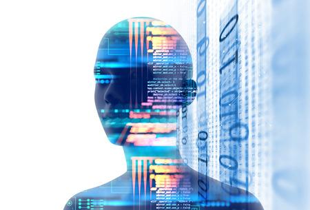 プログラミングと技術背景の学習に仮想の人間 3dillustration の二重露光イメージは、学習プロセスを表します。