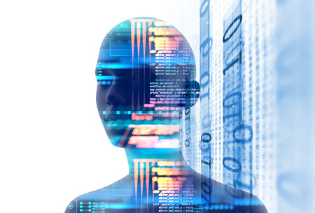 double exposure image of virtual human 3dillustration on programming and learning technology   background represent learning process.  Stock Photo