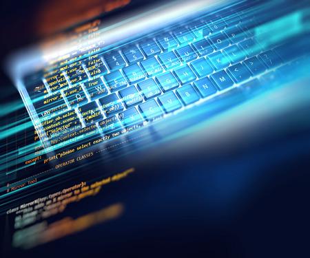 Programmeercode abstracte technische achtergrond van softwareontwikkelaar en computerscript Stockfoto