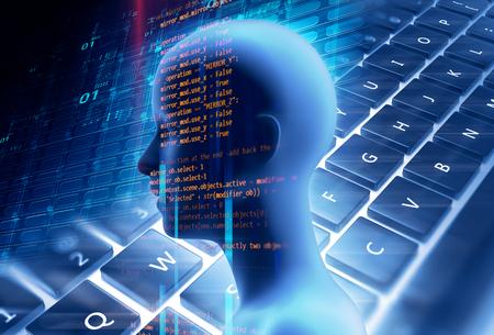 dubbele blootstelling afbeelding van virtuele menselijke 3dillustration op programmering en leren technologie achtergrond vertegenwoordigen leerproces.