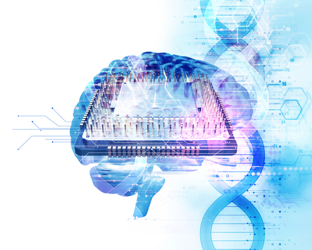 3d illustration of human head on dna molecules  abstract technology background , concept of  biochemistriy and genetic theory.