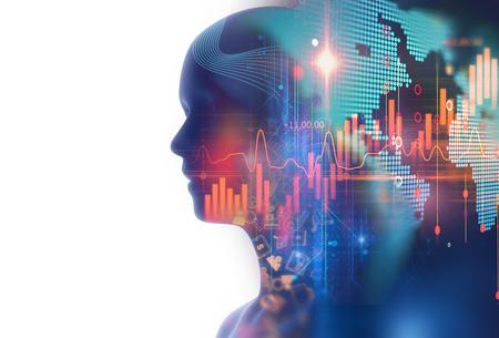 財務グラフとビジネス技術背景に仮想の人間 3dillustration のダブル露出画像は、アルゴリズム取引のプロセスを表しています。