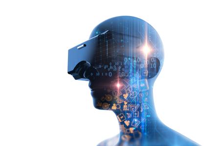 未来の VR のヘッドセットで仮想人間の 3 d レンダリング技術とプログラミング言語背景仮想現実感技術を表しています。