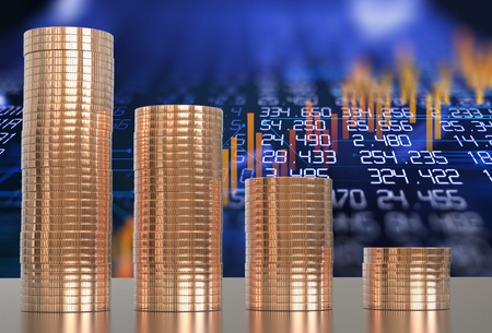 3d rendering of coin stacks on technology financial graph background Stock Photo
