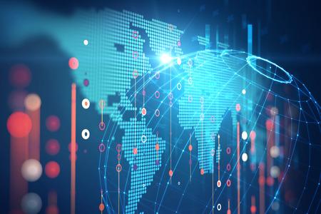 Abstracte Futuristische infographic met visuele gegevenscomplexiteit, vertegenwoordigt Big data-concept, knooppuntbasisprogrammering Stockfoto