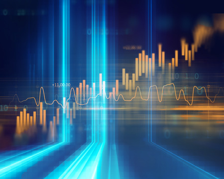 financial stock market graph on technology abstract background 免版税图像 - 74052904