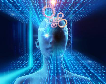 blaue virtuelle Illustration der menschlichen Technologie- und Wissenschaftshintergrundes 3d Standard-Bild
